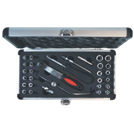 Socket Set 1/4 Aluminium Case 33Pce