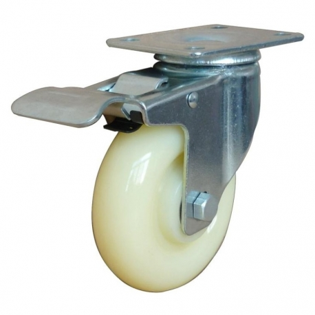 Castor Swivel with Brake White wheel 125mm