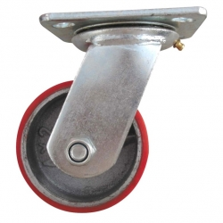 Castor Swivel with large Red wheel Heavy Duty 100mm