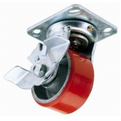 Castor Swivel with Brake Red wheel 100mm