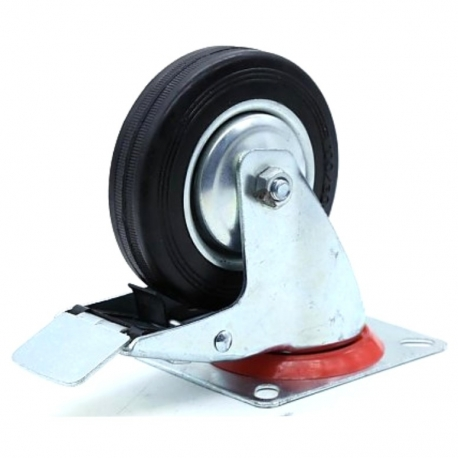 Castor swivel with brake Black wheel with red band 125mm