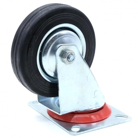 Castor swivel Black wheel with red band 125mm