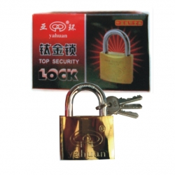 Lock Padlock Gold Plated 40mm Tri-Circus