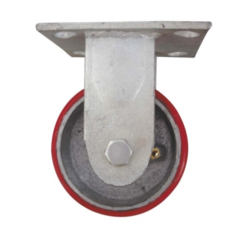 Castor fixed with large Red wheel Heavy Duty 125mm